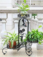 QiangDa Pflanze Regal- Europäischer Stil Garten Garten Blumentopf Rack Wohnzimmer Balkon Mehrstöckige Blumentöpfe Regal Eingelegtes Regal kreatives Blumengestell (Farbe : Schwarz)