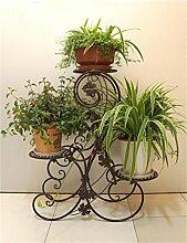 QiangDa Pflanze Regal- European-Stil Eisen 3-Tier-Boden Flower Pot Regal, Pflanzen stehen, Blumen-Rack für Balkon, Wohnzimmer Eingelegtes Regal kreatives Blumengestell ( Farbe : Bronze )