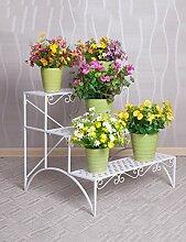 QiangDa Pflanze Regal- European-style Blume Racks Eisen Drei-Layer-Leiter Blume Rack Balkon Wohnzimmer Blume Topf Blume Rack Weiß und Schwarz Eingelegtes Regal kreatives Blumengestell ( Farbe : Weiß )