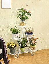 QiangDa Pflanze Regal- European - Style Six - Story Eisen Blumentopf Regal Pflanze Stand Wohnzimmer Balkon Töpfe Regal Blumenregal Eingelegtes Regal kreatives Blumengestell ( Farbe : Weiß , größe : B )