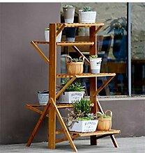 QiangDa Pflanze Regal- Flower Frame Falten Bambus Massivholz Wohnzimmer Mehrstöckige Blume Rack Balkon Blumentopf Rack Eingelegtes Regal kreatives Blumengestell