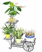 QiangDa Pflanze Regal- Garten Eisen Blumenhalter Massivholz Mehrstöckige Innen Balkon Wohnzimmer Holz Blumen Töpfe Regal Eingelegtes Regal kreatives Blumengestell ( Farbe : Schwarz , größe : 56cm )