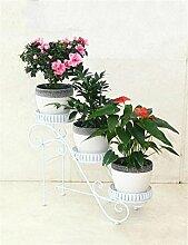 QiangDa Pflanze Regal- Indoor-Wohnzimmer Drei-stöckigen Kreative Iron Flower Frame Outdoor-Balkon Multi-Layer-Eisen-Blumentopf Rack Eingelegtes Regal kreatives Blumengestell ( Farbe : Weiß )