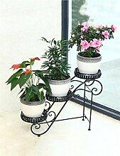 QiangDa Pflanze Regal- Indoor-Wohnzimmer Drei-stöckigen Kreative Iron Flower Frame Outdoor-Balkon Multi-Layer-Eisen-Blumentopf Rack Eingelegtes Regal kreatives Blumengestell ( Farbe : Schwarz )