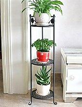 QiangDa Pflanze Regal- Iron Flower Frame Mehrstöckige Ecke Blumentöpfe Regal Balkon Balkon Wohnzimmer Einfache Blumenhalter Eingelegtes Regal kreatives Blumengestell ( Farbe : Schwarz , größe : 78cm )