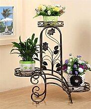 QiangDa Pflanze Regal- Iron Flower Holder Europäische Multi-Storey Indoor Balkon Wohnzimmer Flower Pot Regal Eingelegtes Regal kreatives Blumengestell (Farbe : Bronze)