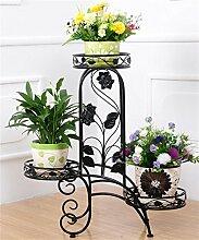 QiangDa Pflanze Regal- Iron Flower Holder Europäische Multi-Storey Indoor Balkon Wohnzimmer Flower Pot Regal Eingelegtes Regal kreatives Blumengestell (Farbe : Schwarz)