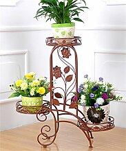 QiangDa Pflanze Regal- Iron Flower Holder Europäische Multi-Storey Indoor Balkon Wohnzimmer Flower Pot Regal Eingelegtes Regal kreatives Blumengestell (Farbe : Messing)
