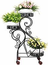 QiangDa Pflanze Regal- Iron Flower Holder europäischen Stil Kreative dreistufige Blumentopf Regal Trapez-Blume Rack Eingelegtes Regal kreatives Blumengestell