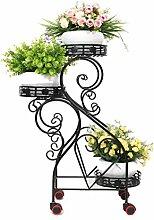 QiangDa Pflanze Regal- Iron Flower Pot Regal Europäische kreative Wohnzimmer Blumentopf Rack Balkon Drei - Tier - Trapez Blumentopf Rack Eingelegtes Regal kreatives Blumengestell ( Farbe : Schwarz )