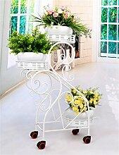 QiangDa Pflanze Regal- Iron Flower Pot Regal Europäische kreative Wohnzimmer Blumentopf Rack Balkon Drei - Tier - Trapez Blumentopf Rack Eingelegtes Regal kreatives Blumengestell (Farbe : Weiß)