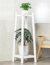QiangDa Pflanze Regal- Massivholz 2-tier Boden Blumentopf Regal, Pflanzen stehen, Blumenregal für Wohnzimmer, Balkon, Interieur Eingelegtes Regal kreatives Blumengestell ( Farbe : B , größe : L )