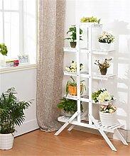 QiangDa Pflanze Regal- Massivholz kreativ Blumen Topfhalter pastorale Blumentopf Rack multifunktionale Wohnzimmer Balkon faltende Blumentöpfe Regal Eingelegtes Regal kreatives Blumengestell ( Farbe : Weiß , größe : 145cm )
