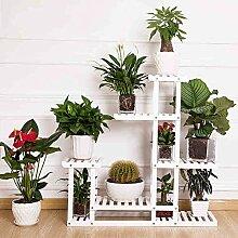 QiangDa Pflanze Regal- Massivholz Landung Art Blumentopf-Rack Wohnzimmer Balkon Blumenregale Eingelegtes Regal kreatives Blumengestell