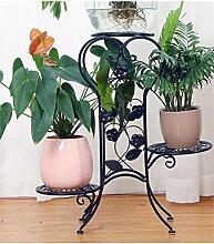 QiangDa Pflanze Regal- Mehrstöckige Eisen Europäische - Stil Wohnzimmer Blumentöpfe Regal Indoor Balkon Blumenhalter Eingelegtes Regal kreatives Blumengestell ( Farbe : Schwarz )