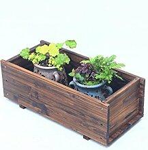 QiangDa Pflanze Regal- Outdoor Anti - Korrosion Holz Blumentöpfe Halter Rectangular Balkon Blumentöpfe Regal Eingelegtes Regal kreatives Blumengestell ( größe : 60*27*21cm )