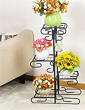 QiangDa Pflanze Regal- Pflanze Stand im europäischen Stil Eisen Mehrstöckige Blumentopf Regal Balkon Multifunktions Blumentopf Rack Eingelegtes Regal kreatives Blumengestell ( Farbe : Schwarz )