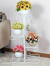 QiangDa Pflanze Regal- Pflanze Stand im europäischen Stil Eisen Mehrstöckige Blumentopf Regal Balkon Multifunktions Blumentopf Rack Eingelegtes Regal kreatives Blumengestell ( Farbe : Weiß )