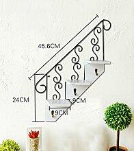 QiangDa Pflanze Regal- Wandmontierte Blumentöpfe American kreative Treppe hängenden hölzernen Werk Regal Schlüsselhaken Cafe Wandregale Eingelegtes Regal kreatives Blumengestell ( Farbe : A )
