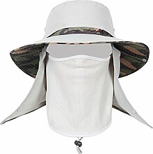 QIANGDA Sonnenhüte Herren Abnehmbare Hutspitze Windseil Sonnenschutz Staubdicht Anti-Moskito, 4 Farben Wahlweise ( Farbe : Hellgrau )