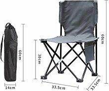 Qiangzi Strand Klappstuhl Outdoor Klappstühle Portable Strand Freizeit Stuhl Falten Fischen Hocker Rückenlehne Schreiben Stuhl Hocker Outdoor Stuhl, grau Strandstuhl Stoff