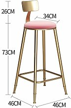 QIAO Barhocker Bar Stuhl Frühstück Stuhl Familie Schmiedeeisen Stuhl Nordischen Stil Garten Form Rosa Sponge Mat Hoher Hocker Vorderschreibtisch Lernen Stuhl Computer Stuhl (Farbe : Height 73cm)