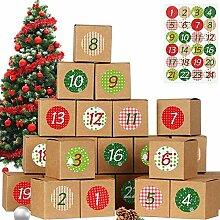 qiaohuan shop 24 Stück Weihnachtskalender DIY