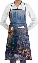 QIAOJIE City Painting Chef Apron with Bib Apron