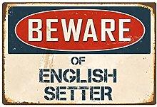 qidushop Blechschild mit Spruch Beware of English