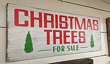 qidushop Dekorative Schild, Weihnachtsbäume,