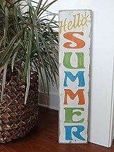 qidushop Holzschild für Zuhause, Hallo Sommer,