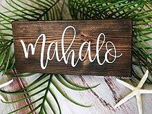 qidushop Holzschild Mahalo Schild Hochzeitsschild