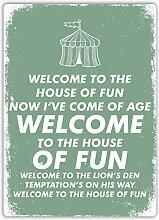 qidushop House of Fun grünes Schild aus Metall,