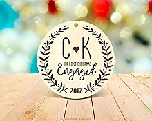 qidushop Our First Christmas Engaged Ornament