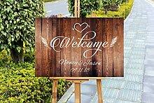 qidushop Rustikales Holzschild für Hochzeit,