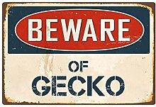 qidushop Schild mit Aufschrift Beware of Gecko,