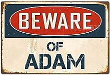 qidushop Türschild mit Aufschrift Beware of Adam,