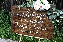 qidushop Welcome to Our Forever Schild Hochzeit,
