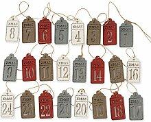 QILICZ 24 Adventskalender-Zahlen Holz Anhänger