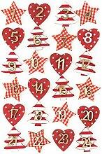 QILICZ 24 Adventskalender-Zahlen Set Mit Sticker -