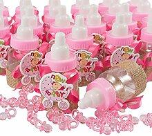 QILICZ Gastgeschenke Taufe Mädchen rosa Flaschen,