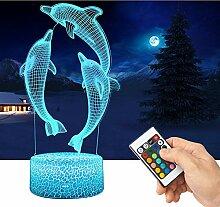 QiLiTd 3D Delphine Lampe LED Nachtlicht mit