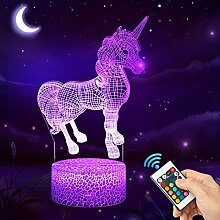 QiLiTd 3D Einhorn Lampe LED Nachtlicht mit