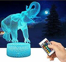 QiLiTd 3D Elefant Lampe LED Nachtlicht mit