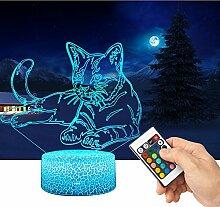 QiLiTd 3D Katze Lampe LED Nachtlicht mit
