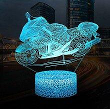 QiLiTd 3D Motorrad Lampe LED Nachtlicht mit