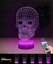 QiLiTd 3D Schädel Lampe LED Nachtlicht mit