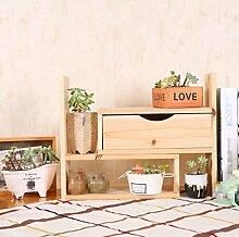 QIN PING GUO Massivholz Regal Empfang Kabinett Schlafzimmer Dehnbar Lagerregal Wohnzimmer Rack Schreibtisch Bücherregal Kosmetische Dekorative Schicht Regal Blumen Rack (Farbe : #2)