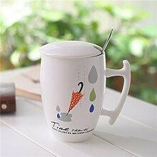 QINCHEH Keramik Becher Spiegel Deckel Milch