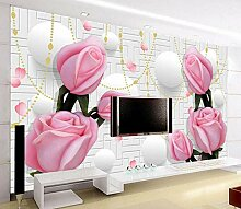 Qingany 3D-Seiden-Tapete, Rose, für TV, Sofa,